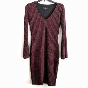 Lulu's Sleek Bodycon Dress Bell Sleeves Size Small